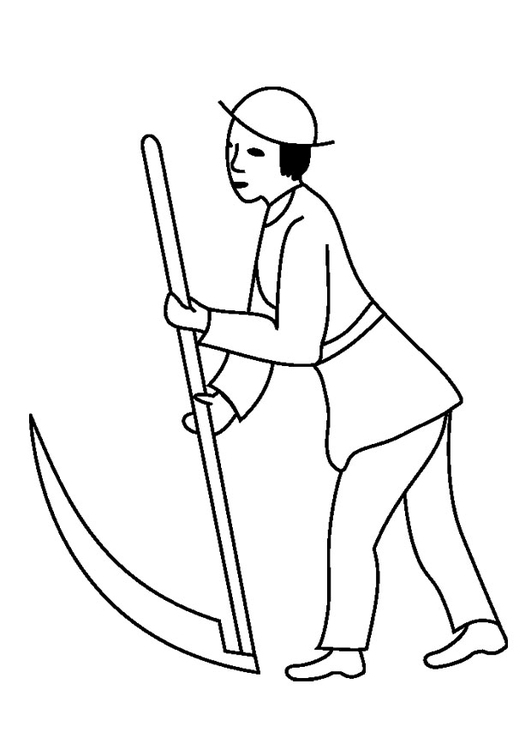 Coloring page man with scythe