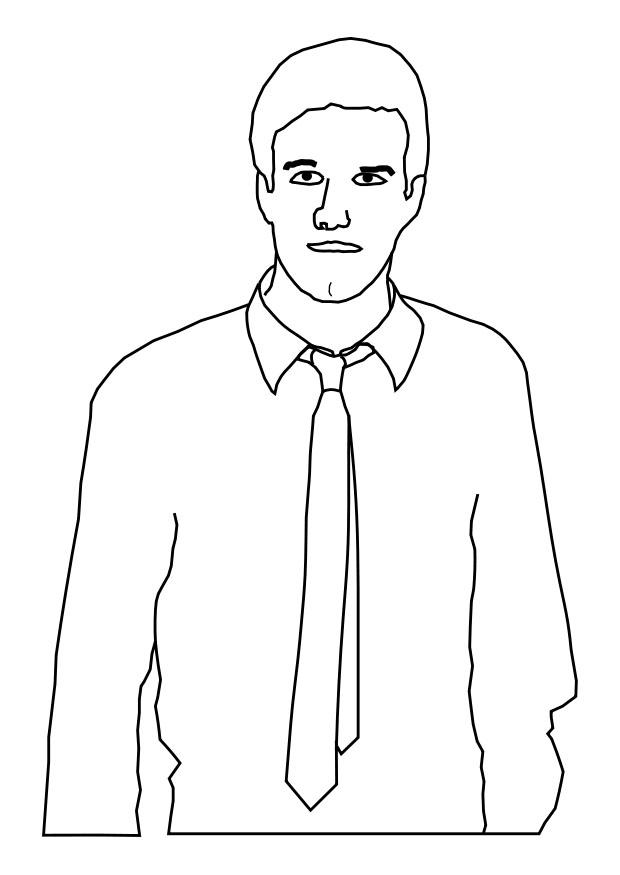 Coloring Page Man With Tie Free Printable Coloring Pages