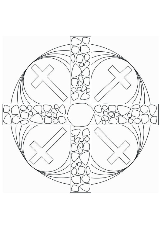 Coloring page Mandala Cross