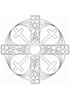 Coloring pages Mandala Cross