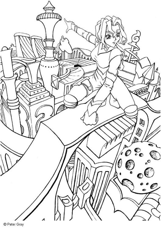 Coloring page Manga- city of the future
