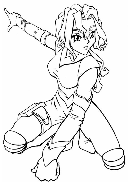 Coloring page manga space girl