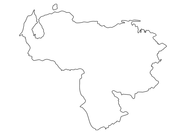 Coloring page map of Venezuela