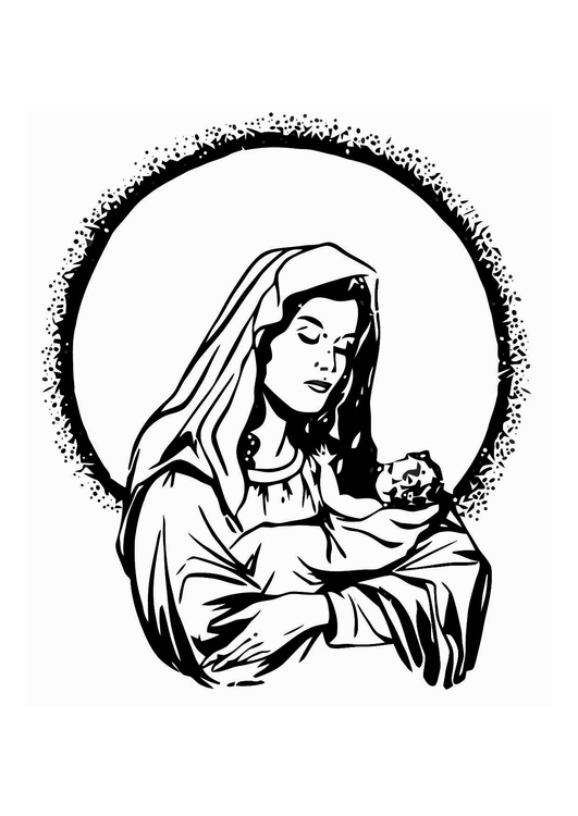 Coloring page Maria and Jesus