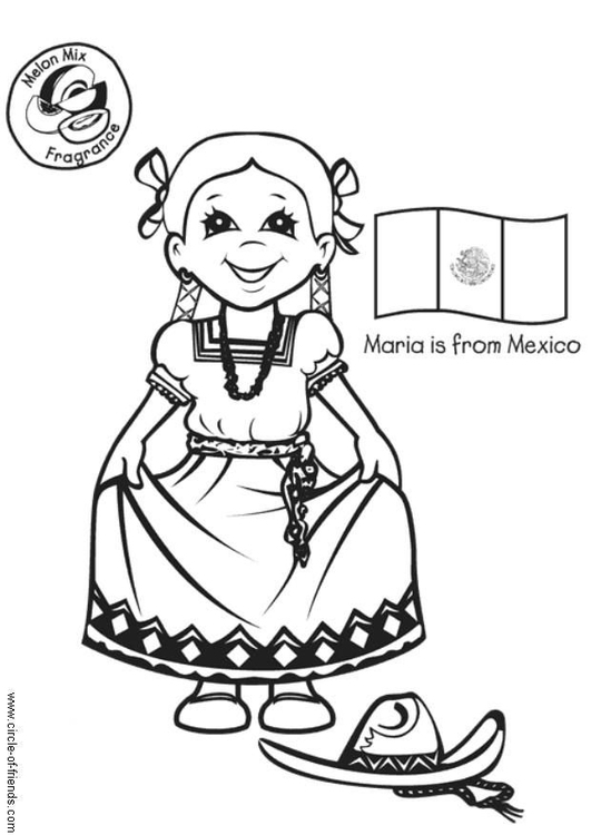 Coloring page Maria from Mexico