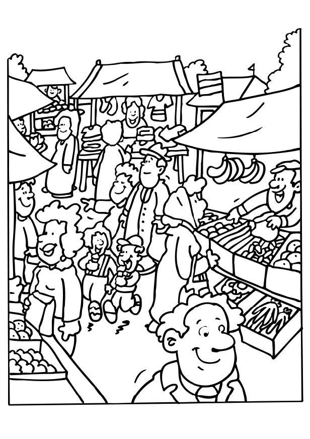 Coloring page market place img
