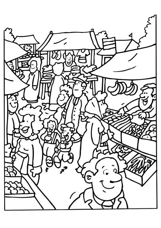 Coloring page market vendor