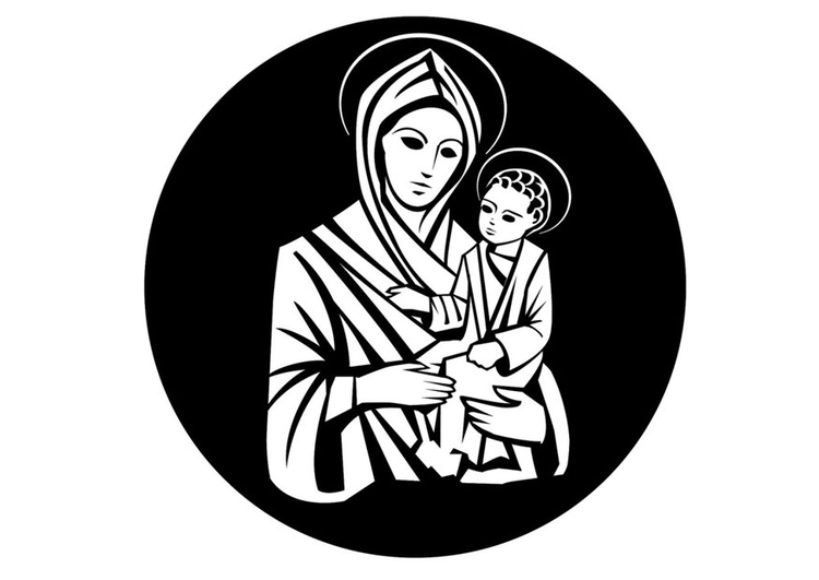 Coloring page Mary and Jesus