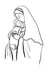 Coloring pages Mary and Jesus