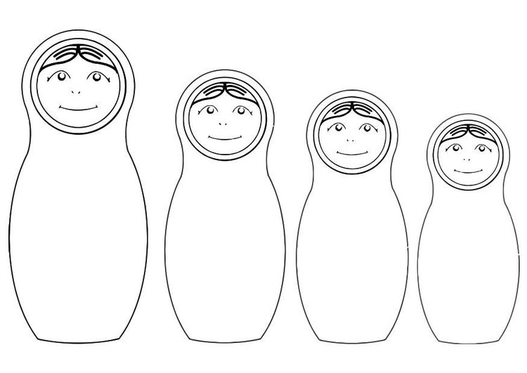 Coloring page Matryoshka dolls