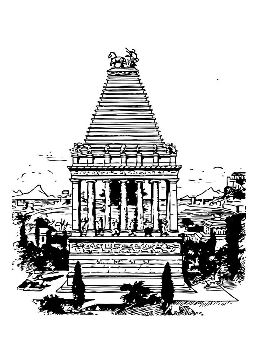 Coloring page mausoleum