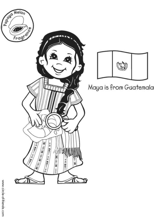 Coloring page Maya from Guatemala