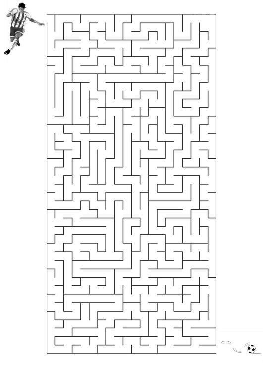 Coloring page maze football