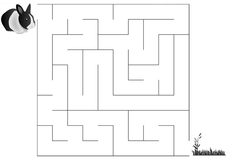 Coloring page maze rabbit