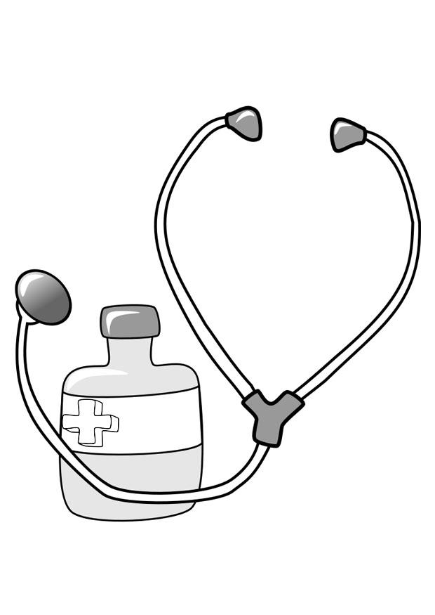 Coloring Page Medicine And Stethoscope Free Printable