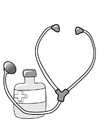 Coloring page medicine and stethoscope