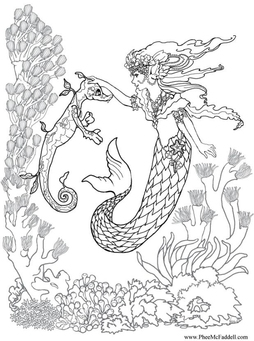 Coloring page mermaid and seahorse