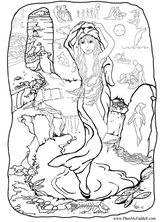 Coloring page mermaid at home