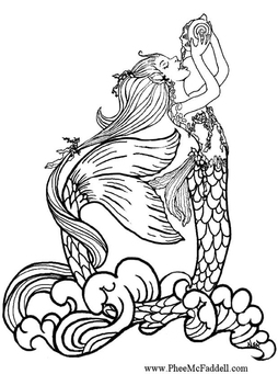 Coloring page mermaid drinking rain water