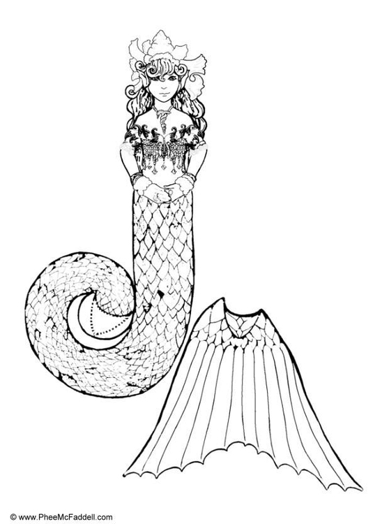 Coloring page mermaid on throne part 1