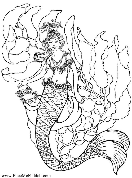 Coloring page mermaid under water