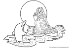 Coloring pages mermaid with dolphin