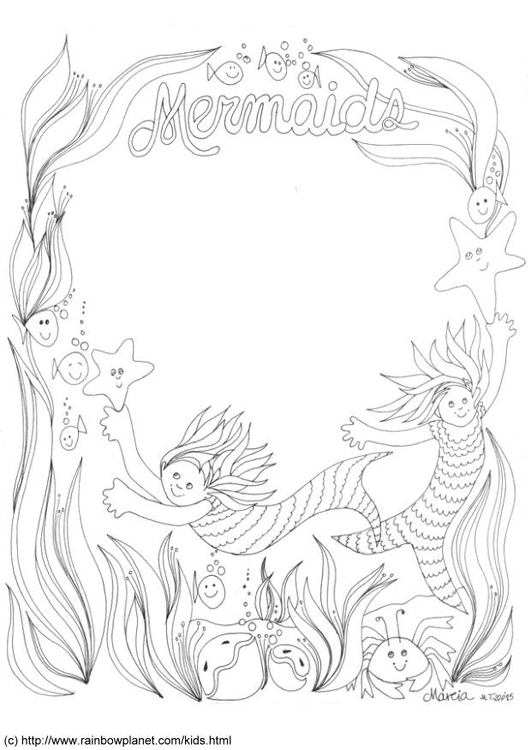 Coloring page mermaids