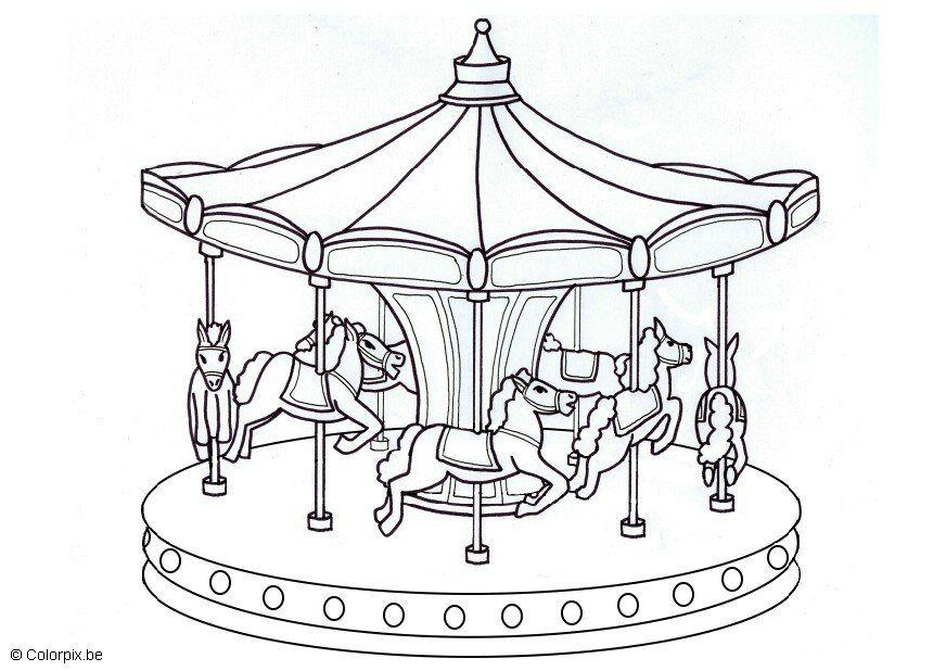 Coloring Page Merry Go Round Img 5665 County Fair Coloring Pages