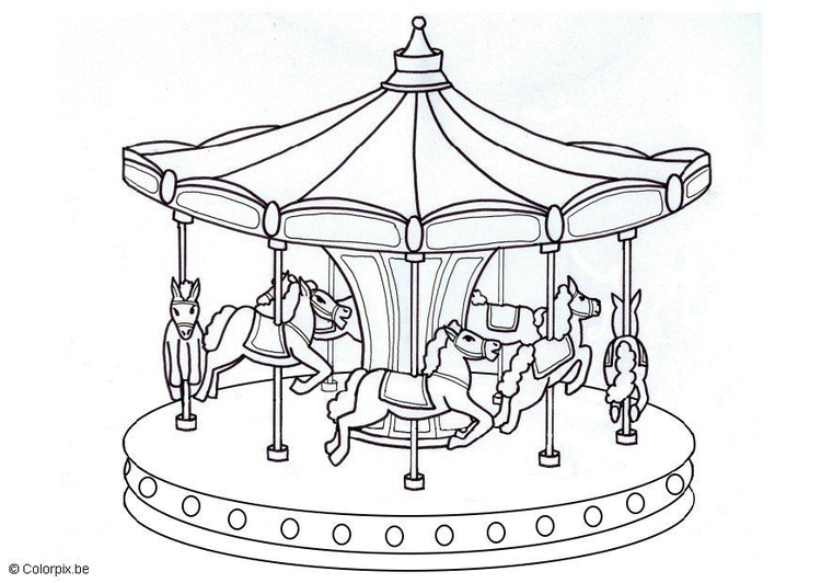 Coloring page merry go round