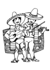 Coloring pages Mexican musicians