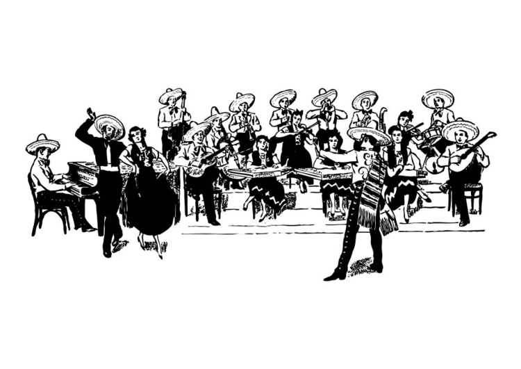 Coloring page Mexican Orchestra
