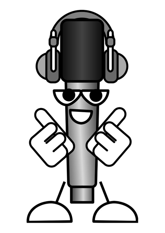 Coloring page microphone - to listen to music
