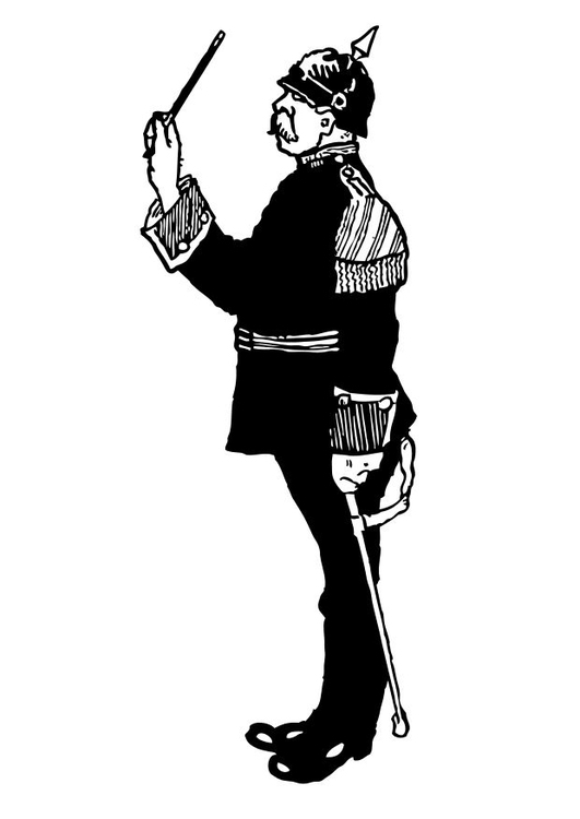 Coloring page military orchestra conductor