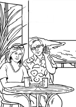 Coloring page mobile telephone