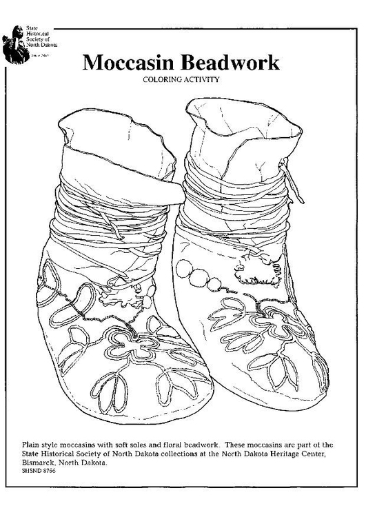 Coloring page moccasin beadwork