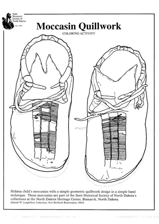 Coloring page moccasin quillwork