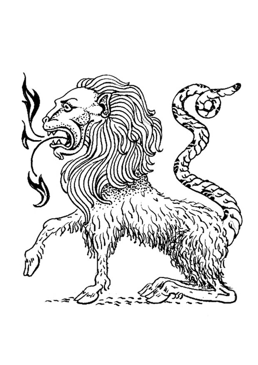 Coloring page monstrous creature - Chimera