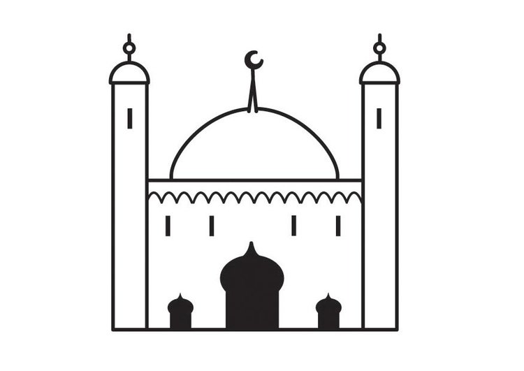 coloring page mosque