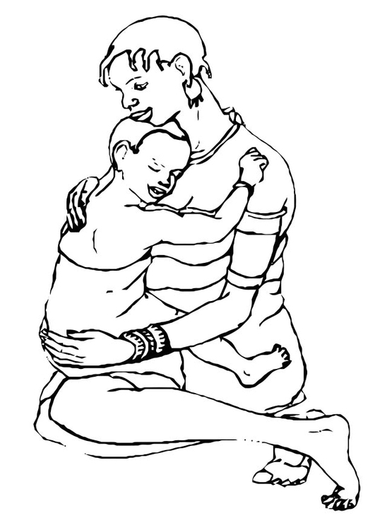 Coloring page mother and child