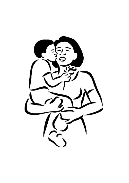 Coloring page mother and son