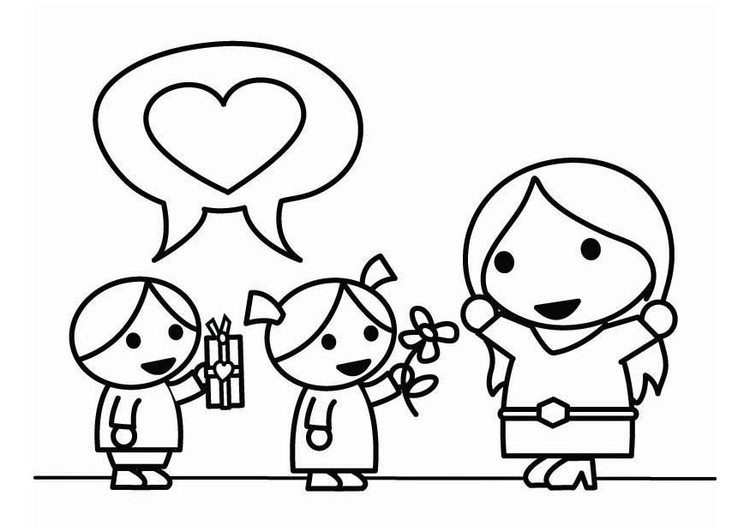 Coloring page Mother's Day with children