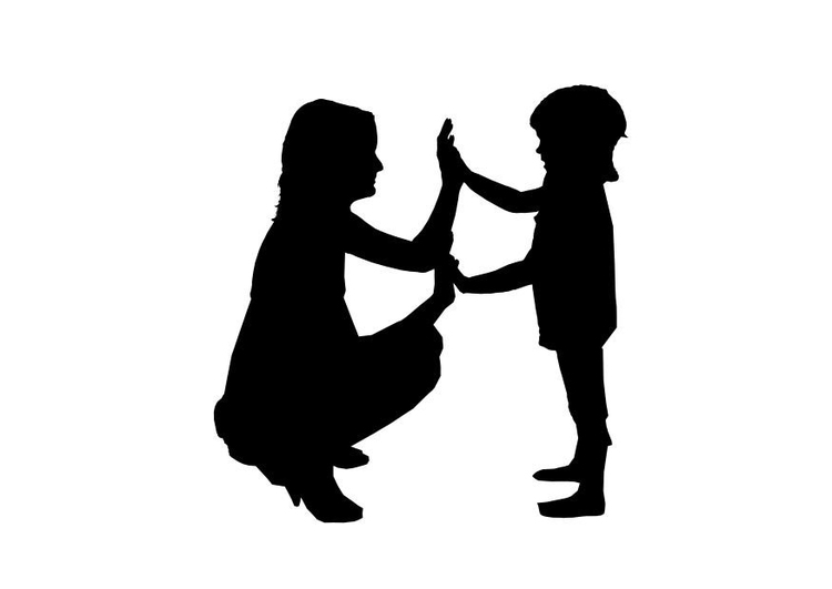 Coloring page mother with child