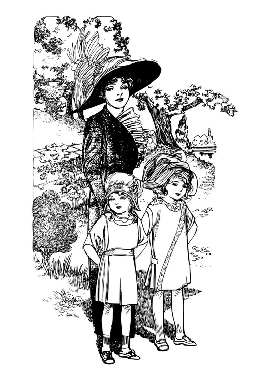 Coloring page mother with children