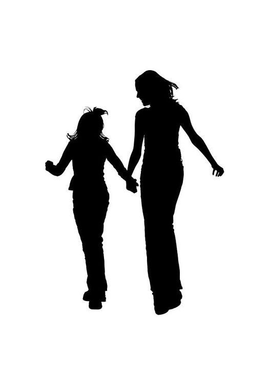 Coloring page mother with daughter