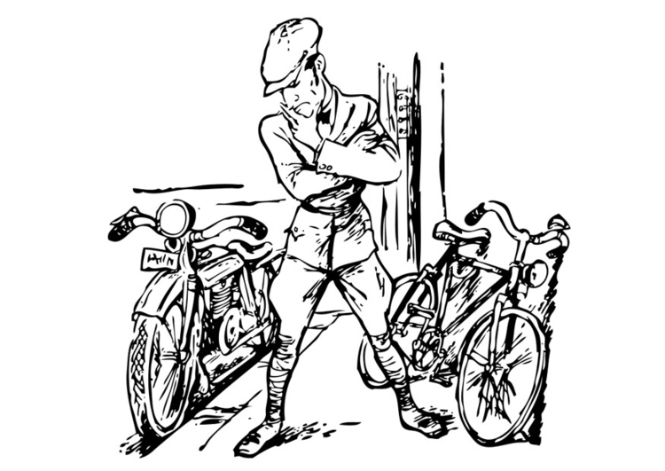 Coloring page motorbike and bicycle