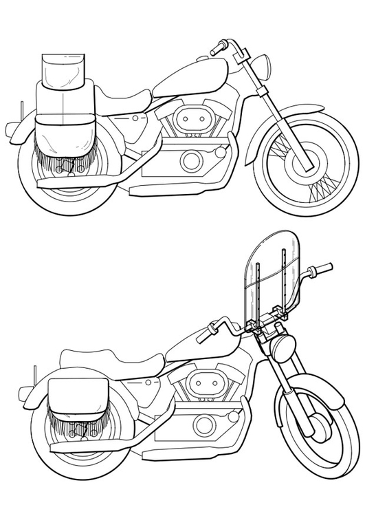 Coloring page motorbikes