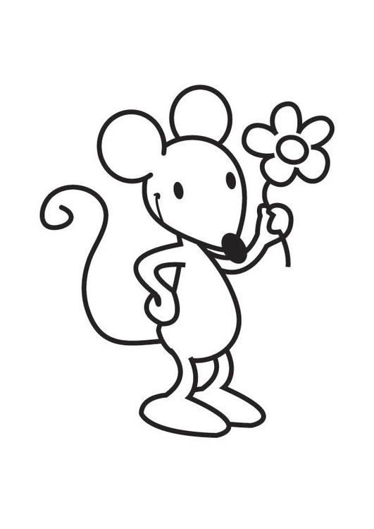 Coloring page Mouse with Flower img 17571