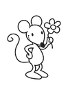 Coloring page Mouse with Flower