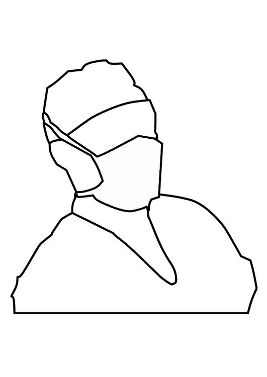 Coloring page mouth mask