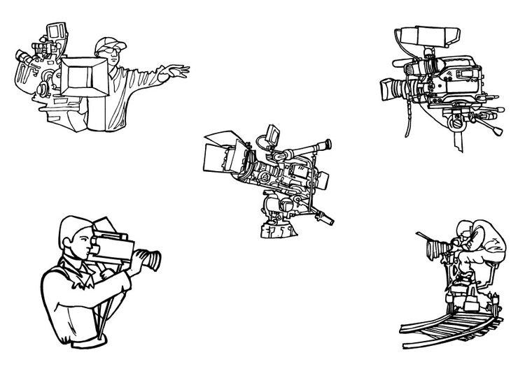Coloring page movie cameras